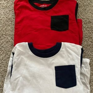 5T boys long sleeve shirts. Red/black. White/navy
